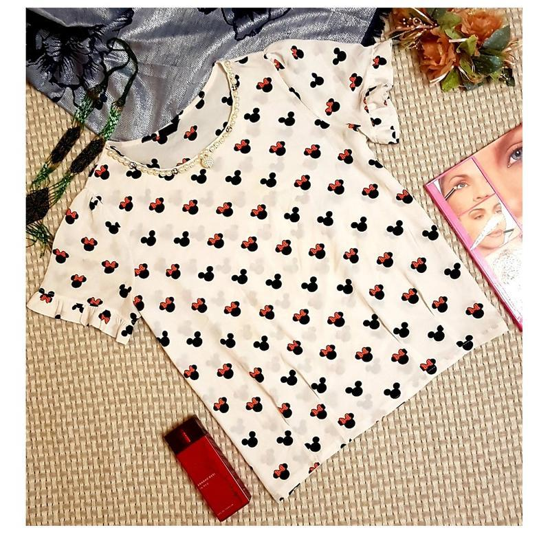 Блуза с рюшами, с принтом jiaxin
