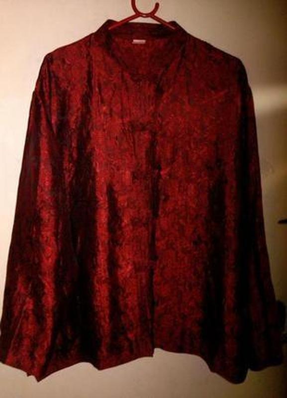 100% шёлк,роскошная,красная блуза в японском стиле, большого 1...