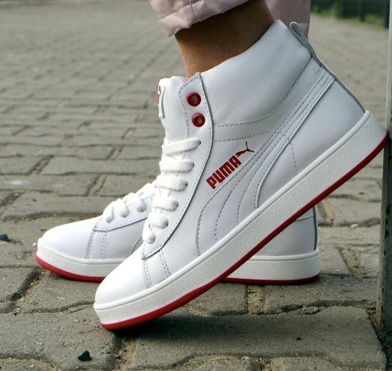 Женские кожаные зимние ботинки кеды