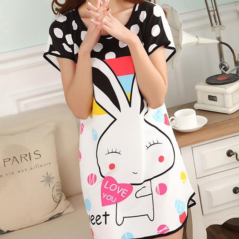 Лёгкое платье футболка с милым рисунком зайки 🐰