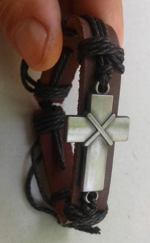 Браслет натуральная кожа крест, размер регулируется