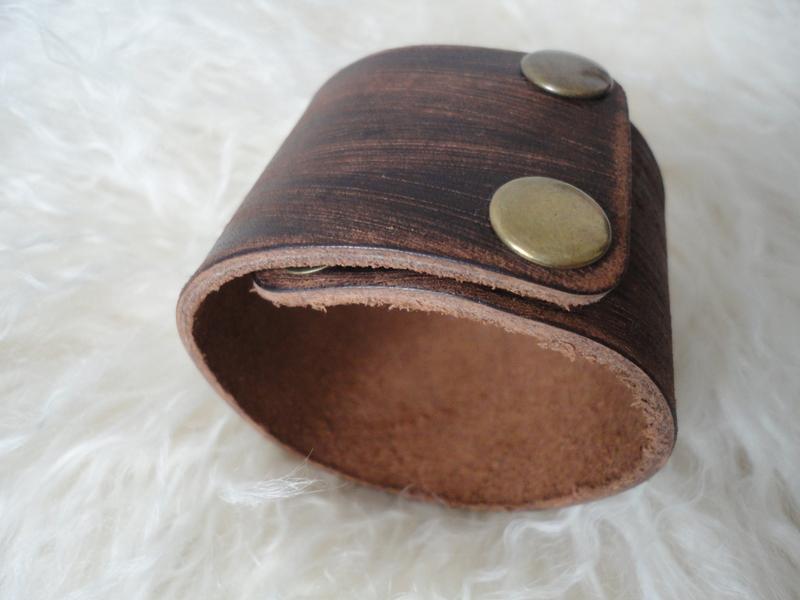 Широкий кожаный браслет 4,5 см