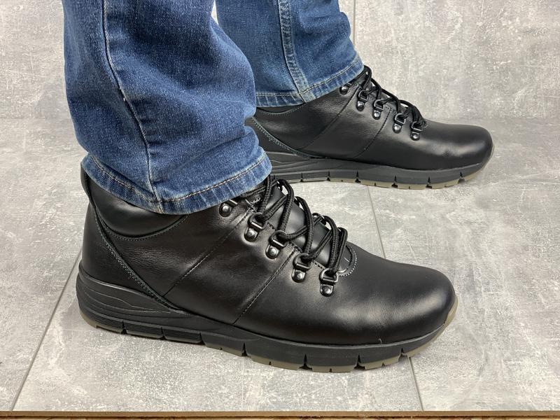 Мужские кожаные качественные зимние ботинки
