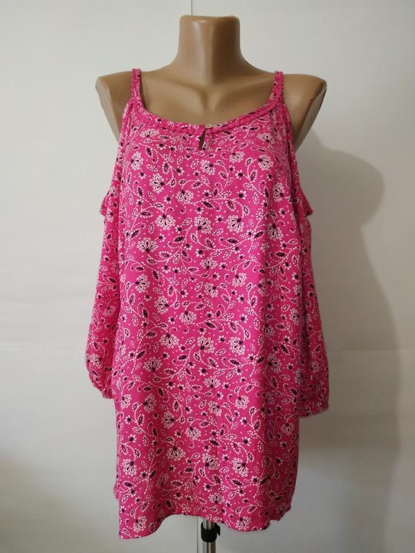Блуза натуральная новая розовая с открытыми плечами bonmarche ...