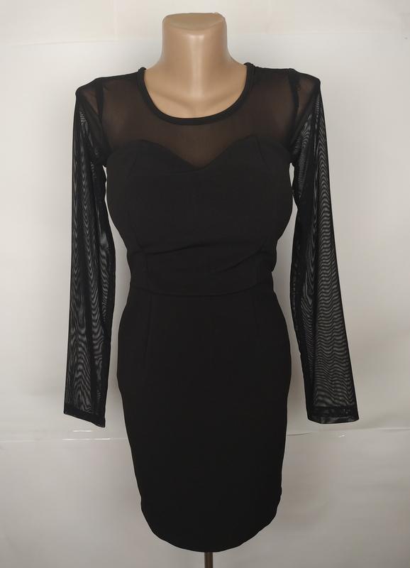 Платье красивое базовое маленькое черное сеточка uk 10/38/s