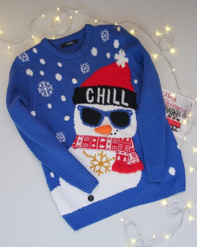 Новогодний свитер от george с снеговиком