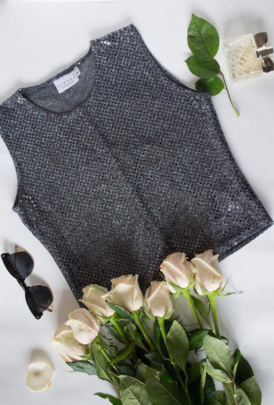 Кроп-топ футболка блуза майка с блестками
