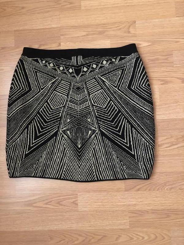 Роскошная трикотажная золотистая юбка от h&m мини. новая. р-р xl