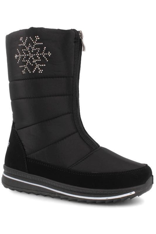 Женские зимние черные сапоги дутики со стразами снежинкой украина