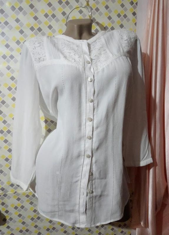 Белая блуза с кружевом🌞.🔖вискоза✨в состоянии новой ✨m&s