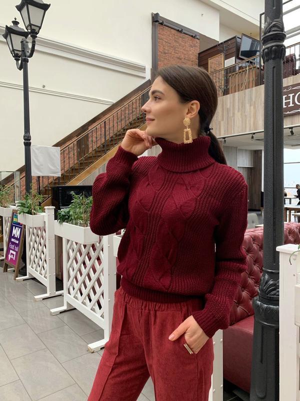 Стильный вязаный свитер #oversize , марсала
