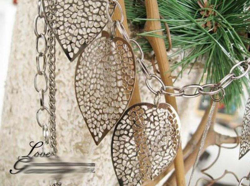 Ожерелье колье серебристого цвета листочки - Фото 4