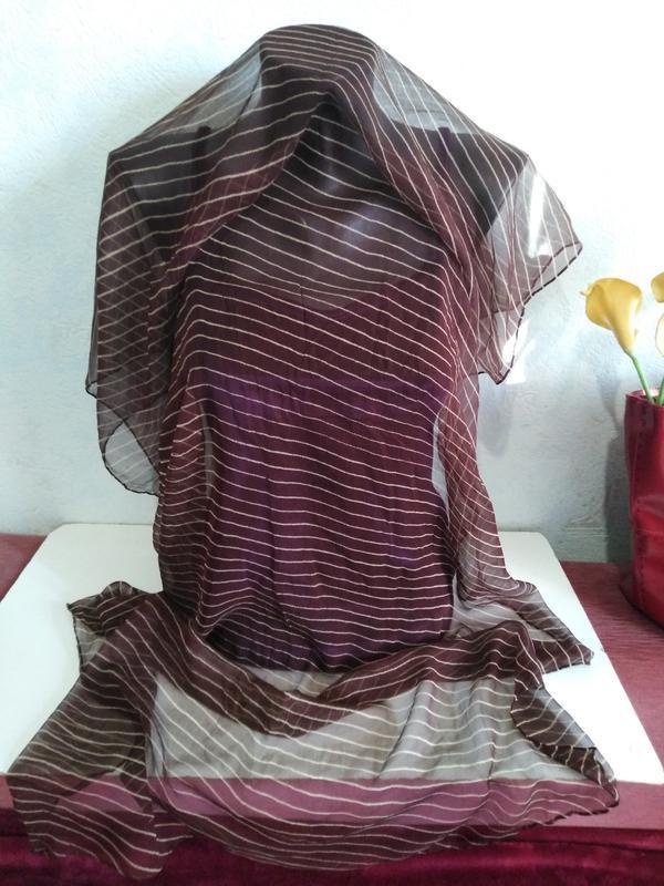 Натуральный шелк, нежная вуаль, коричневый шарфик, 136*72