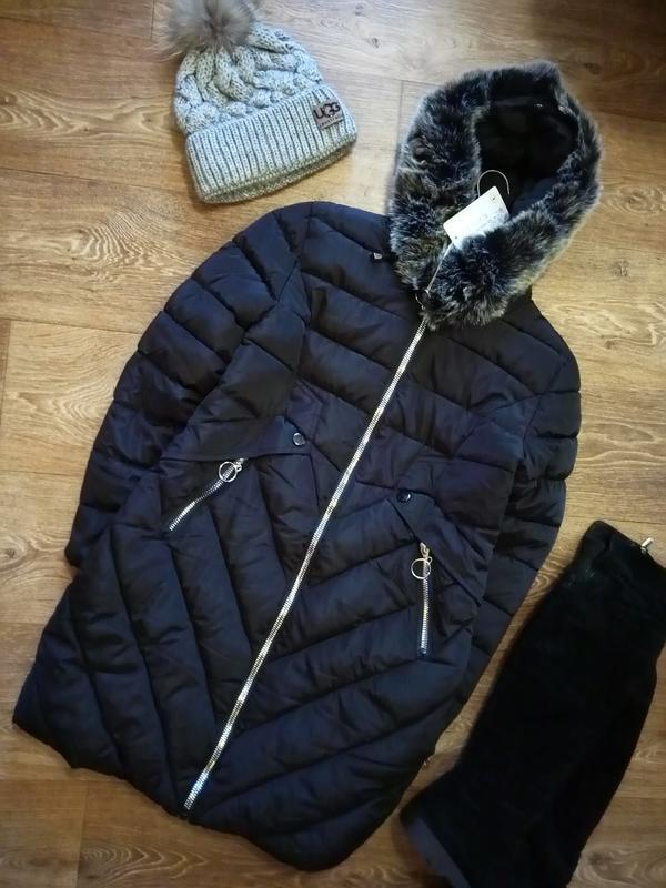 Удлиненная зимняя куртка - пальто пуховик зимний