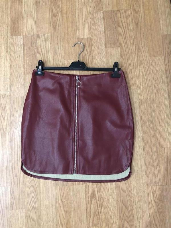Оригинальная кожаная юбка от coolcat мини, р-р xl. новая. супер!
