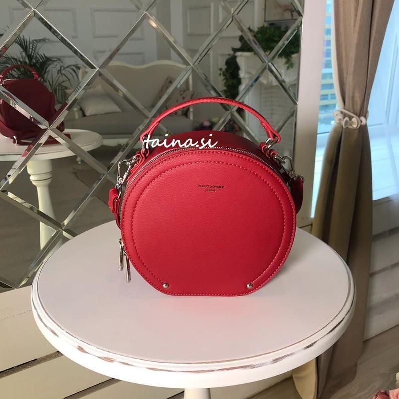 Клатч david jones 6135-1 d. red оригинал красная круглая сумка...