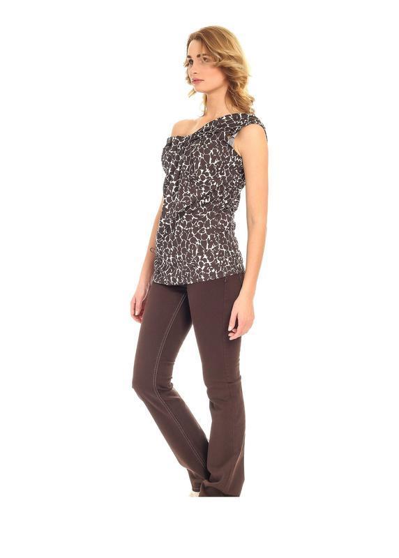 Блуза для женщин, коричневая с белым - conbipel l 40 размер