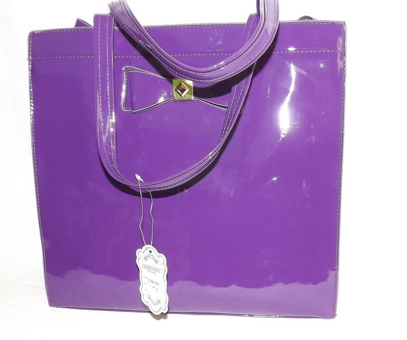 Сумочка вместительная саквояж фиолетовая fashion only