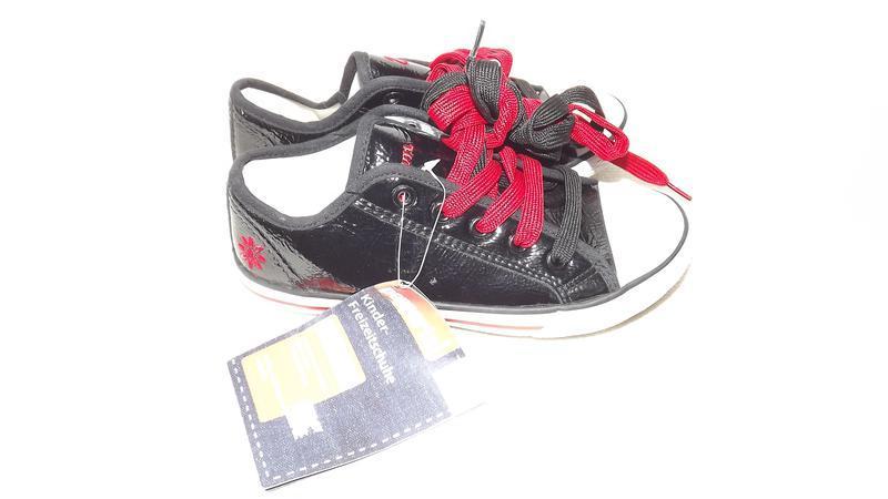 Кеды pepperts® германия чёрные кожзам прорезиненный носок 32 р.