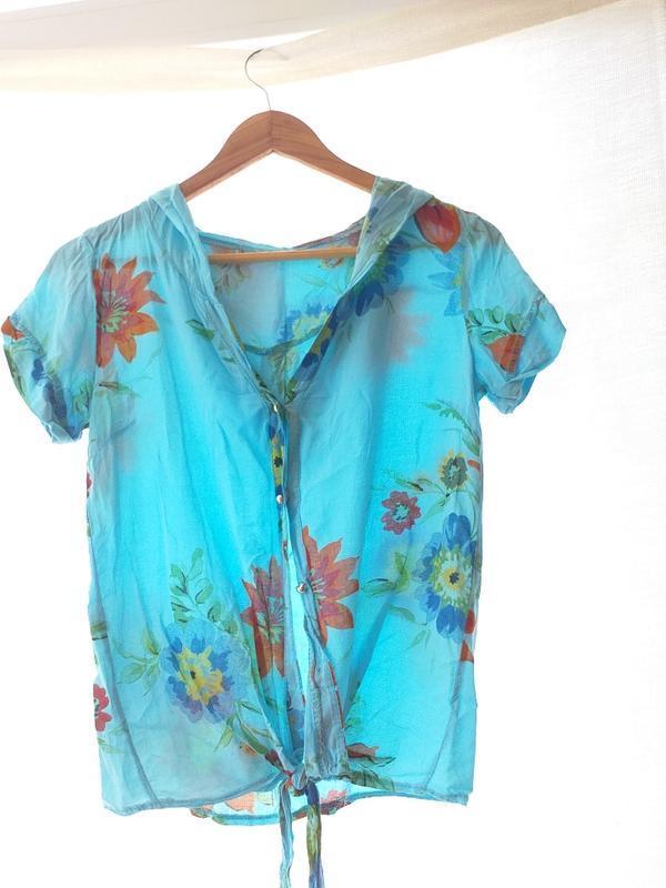 Рубашка блуза хлопковая с капюшоном s