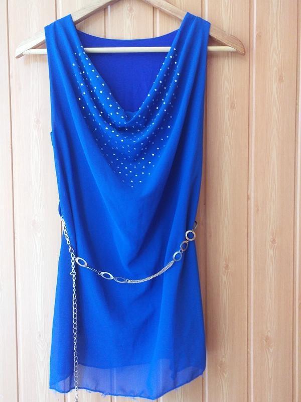 Блуза нарядная синяя made in italy