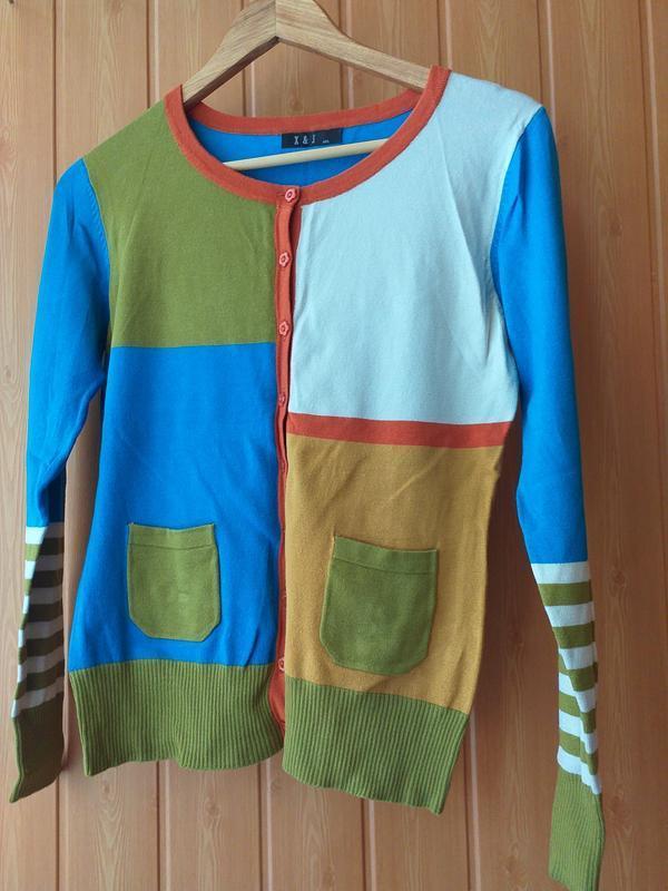 Кофточка x&j на пуговицах разноцветная м -л
