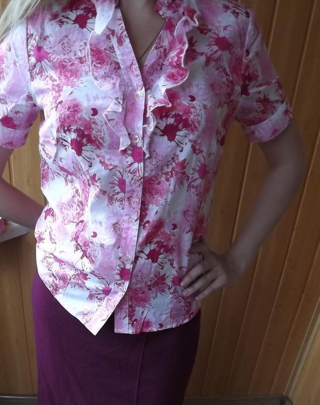 Хлопковая блуза рубашка 38 размер