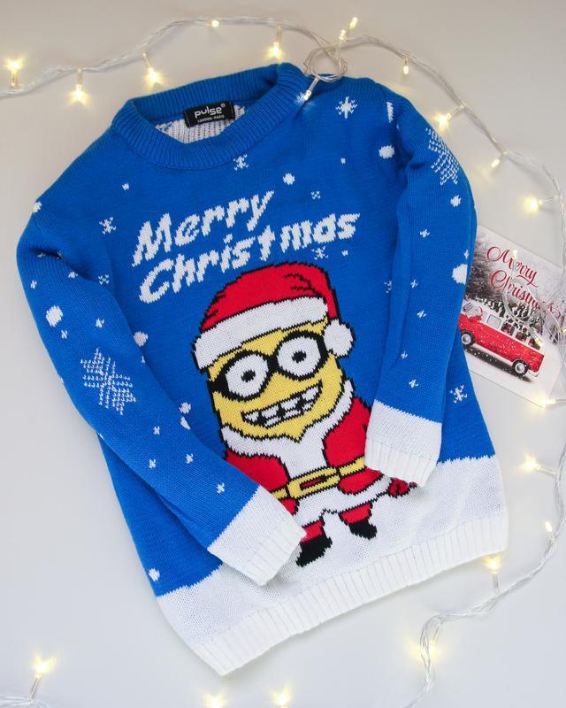 Новогодний свитер с миньоном, сделано в великобритании