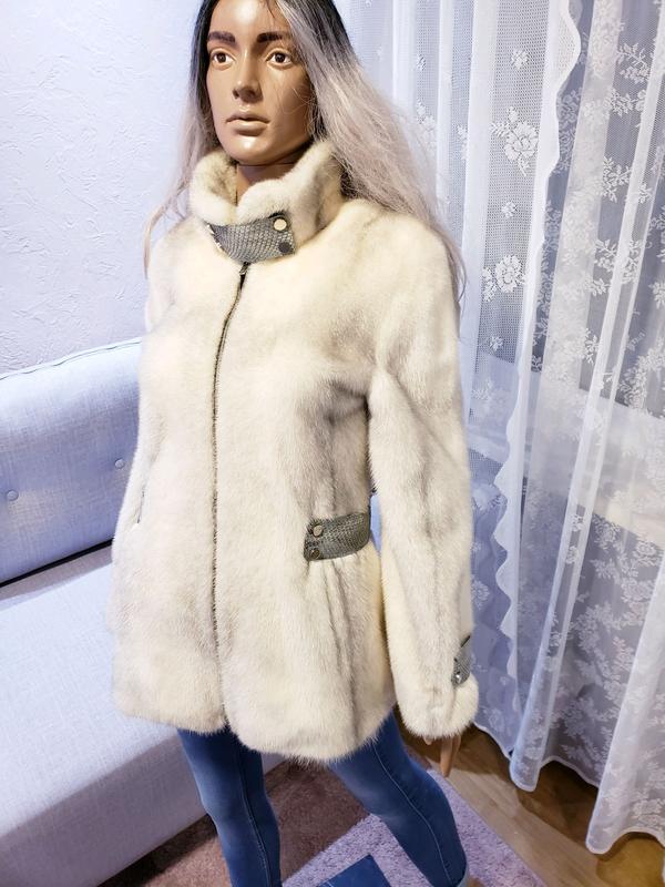 Шуба норкова Kopenhagen fur с кожей питона норка соболь куница ши - Фото 6