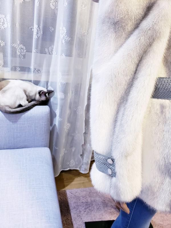 Шуба норкова Kopenhagen fur с кожей питона норка соболь куница ши - Фото 5