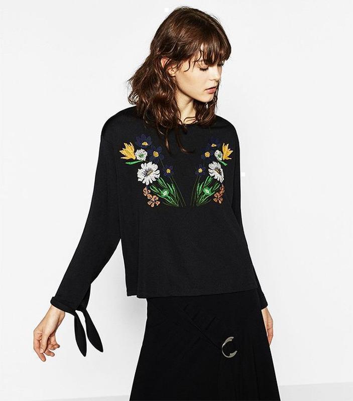 Свободный топ блуза с вышивкой оверсайз