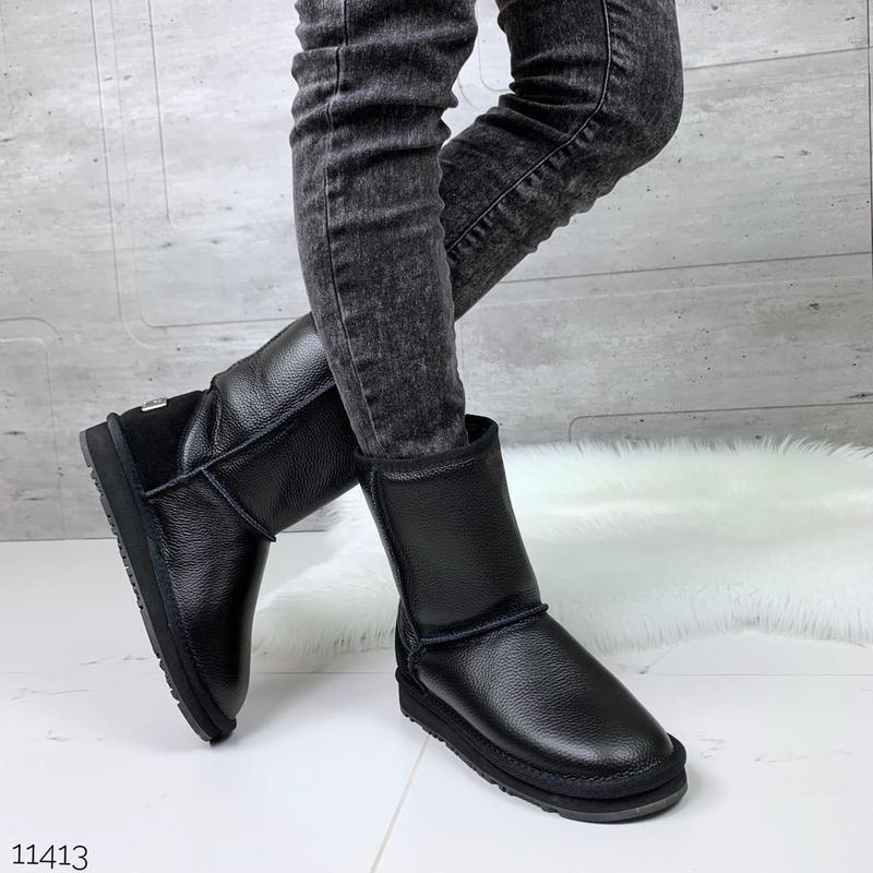 ❤ женские черные зимние кожаные угги  ботинки сапоги полусапож...