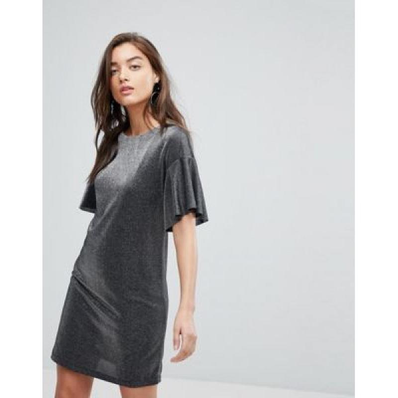 Стильное платье с красивыми рукавами переливающее металлик