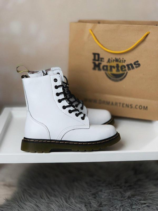 Женские зимние кожаные ботинки/ сапоги dr. martens white fur 😍...