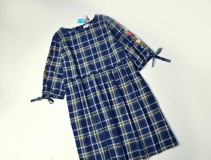 Платье в клетку свободное с длинным рукавом с вышивкой хлопок