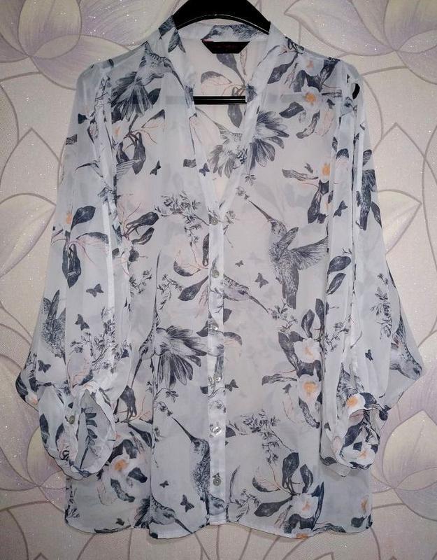 Шифоновая блуза с колибри, размер 14