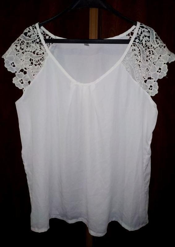 Майка, блуза, с кружевом, большой размер
