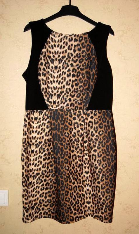 Платье футляр, миди, леопардовый принт