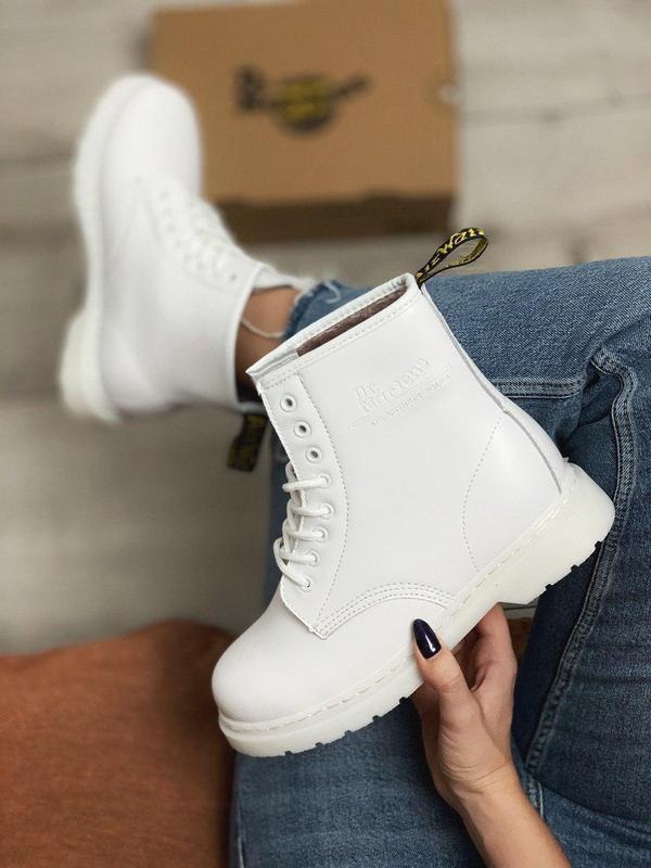 Женские зимние кожаные ботинки/ сапоги dr. martens mono white ...