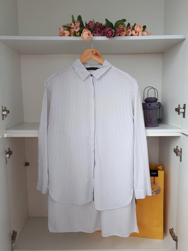 Хлопковая рубашка в прлоску блузка zara