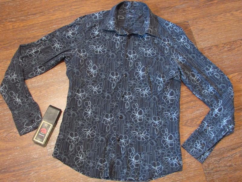 Брендовая черная рубашка с узором р-ра л , roy&rony оригинал.