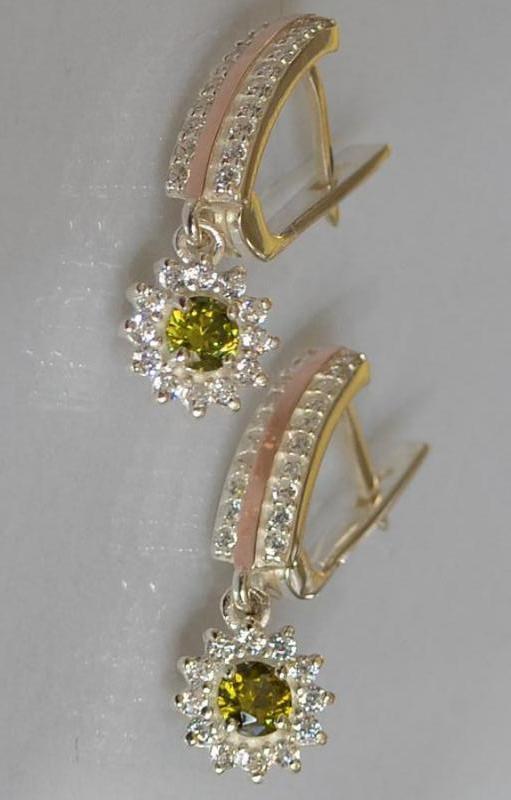 Серебряные серьги-подвески с золотыми вставками 175с
