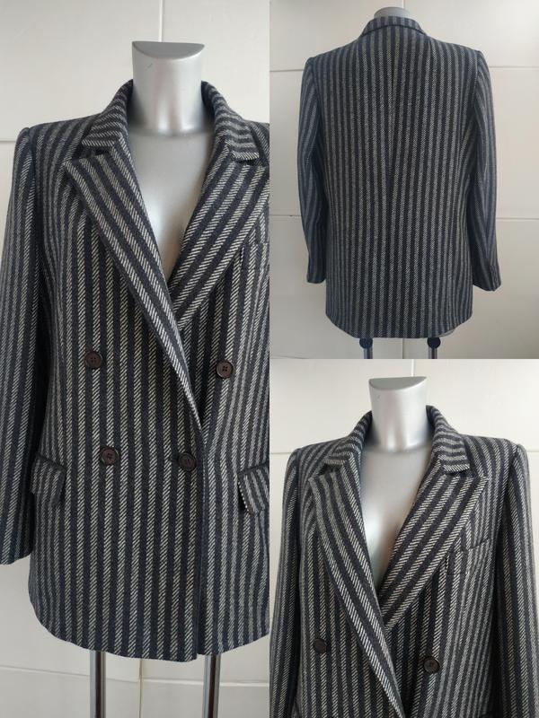 Двубортный шерстяной пиджак в мужском стиле delmod в полоску