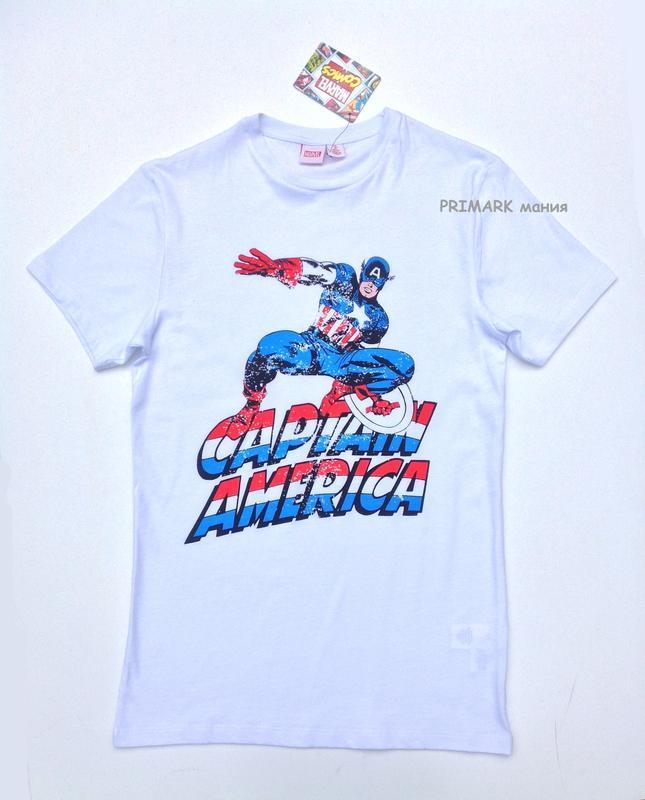 "Мужская футболка ""капитан америка"" primark"