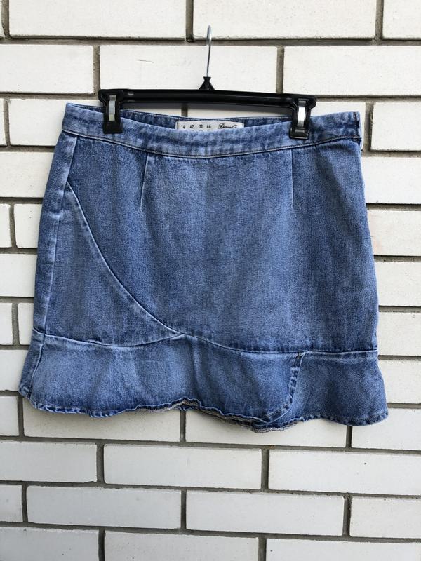 Джинсовая мини юбка с рюшами,воланами,баской denim co