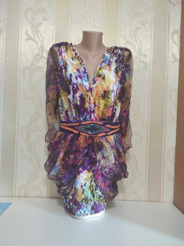 Шикарная шелковая блуза с вышитым поясом, 100% шелк, франция.