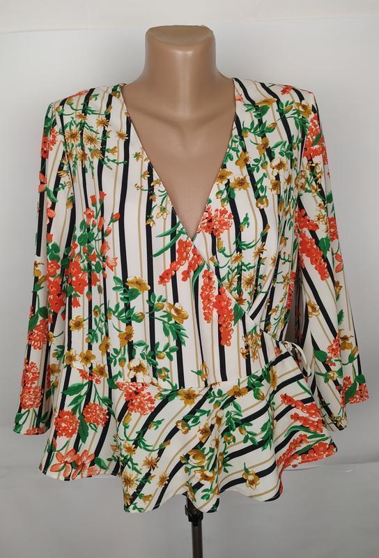 Блуза модная красивая на запах в принт zara uk 10/38/s