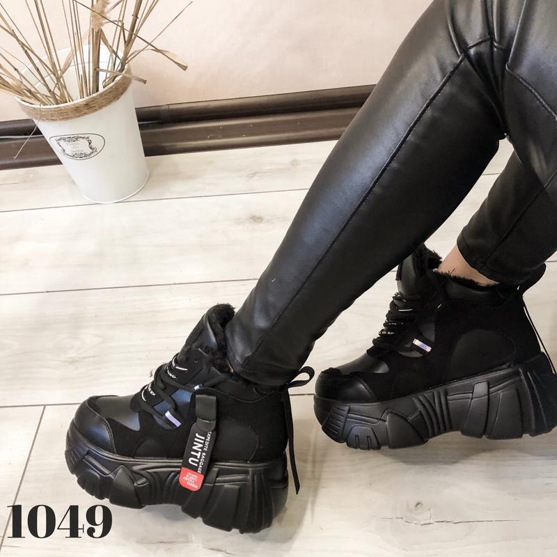 Ботинки на платформе grow, сникерсы с мехом, кроссовки женские... - Фото 2