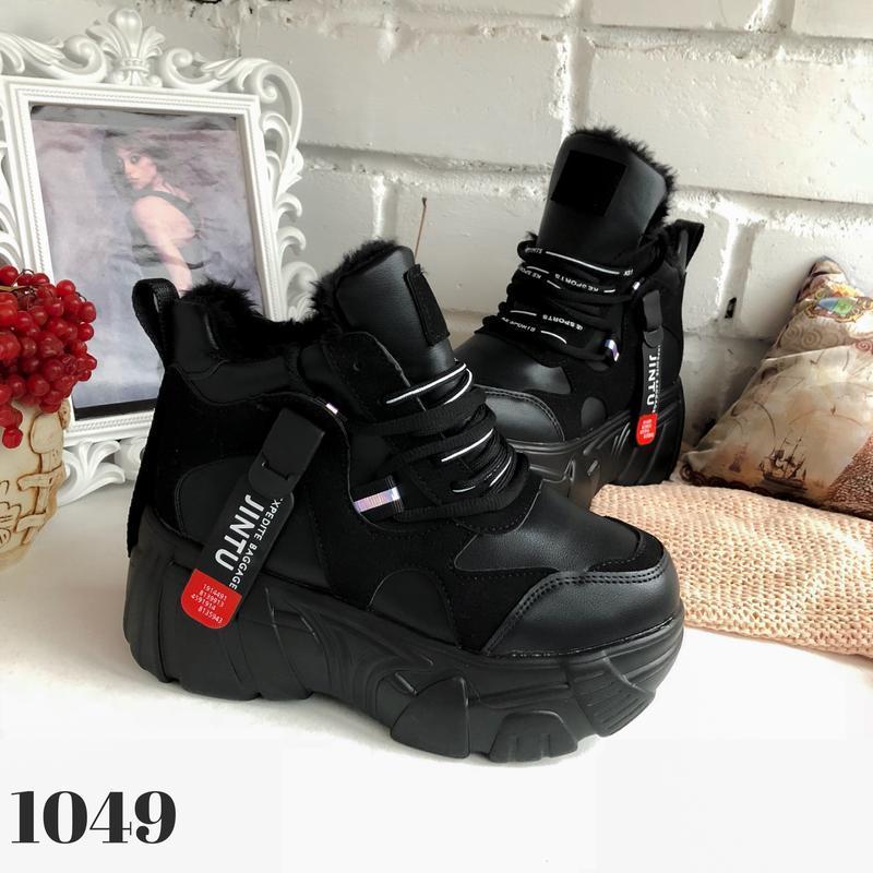 Ботинки на платформе grow, сникерсы с мехом, кроссовки женские... - Фото 4