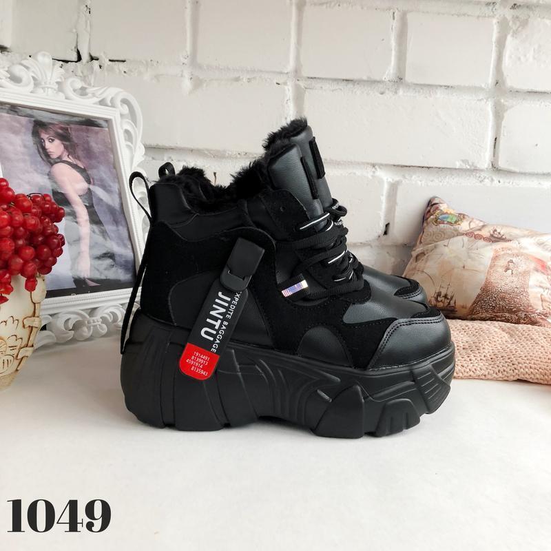 Ботинки на платформе grow, сникерсы с мехом, кроссовки женские... - Фото 5
